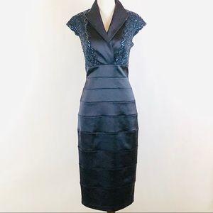 Tadashi Shoji blue sequined lace cocktail dress